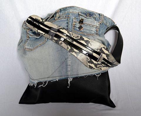 "Zdjęcie użytkownika REmake by La Rosette.  Bag made from women's jeans with ""snake""pattern belt"