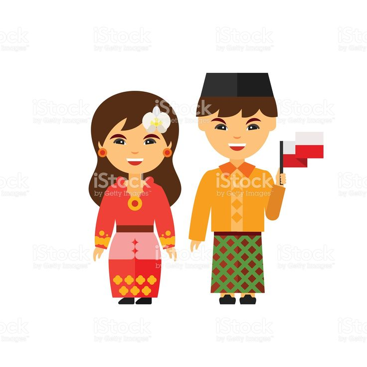 Couple in Indonesian national dress icon royalty-free stock vector art