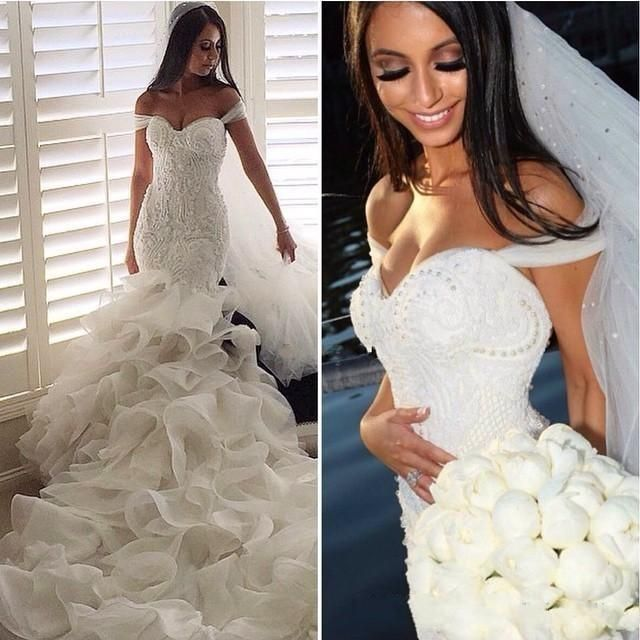 Glamorous 2016 Fashion Mermaid Wedding Dresses Tiered Skirts Off The Shoulder Sexy Bridal Gowns Lace Ruffles Pearls Backless Modest Dress Lace Mermaid Style Wedding Dresses Mermaid Gowns Wedding From Wanyuweddingdress, $231.16  Dhgate.Com