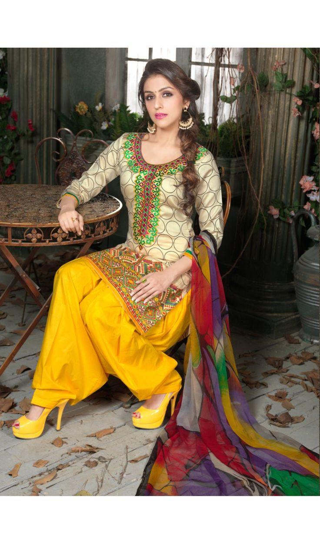 Latest Style Classic Neon Cream Plum-S Cotton Print Patiala Salwar Suits