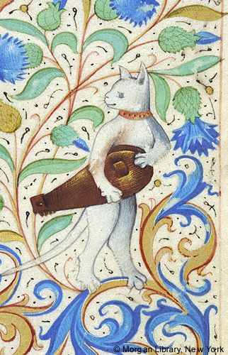 Cat with a zither, from a Belgian Book of Hours, c. 1470.