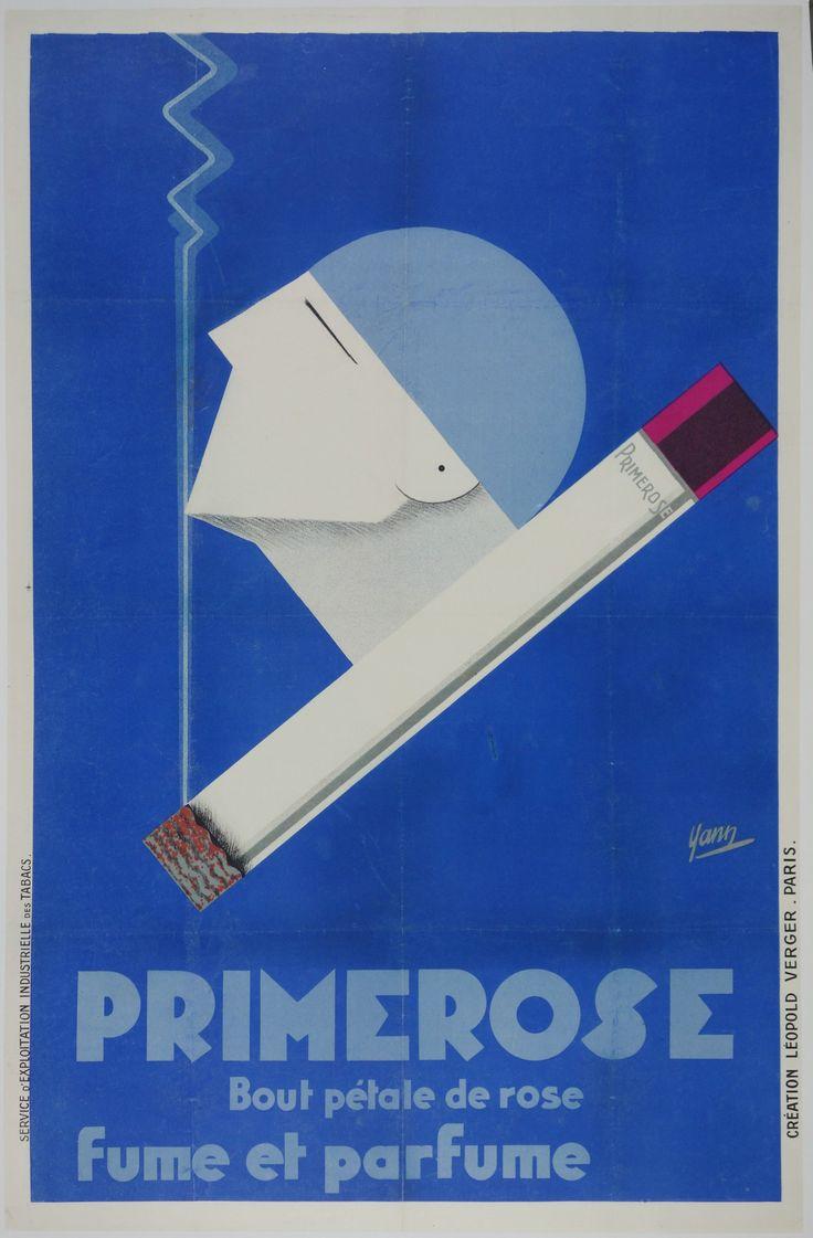 Title: Primerose / Artist: Yann /  Origin: France - c. 1930 /  30 x 46 in (76 x 117 cm) / A striking art deco image of a man enjoying the fragrant fumes of a large pink filtered Primerose cigarette.