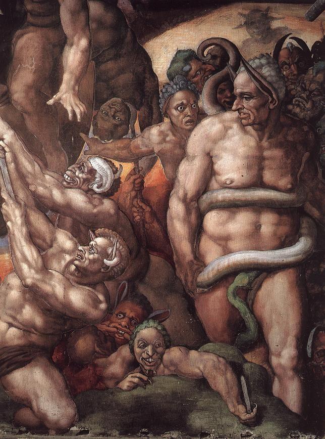 MICHELANGELO Buonarroti Last Judgment (detail) 1537-41 Fresco Cappella Sistina, Vatican