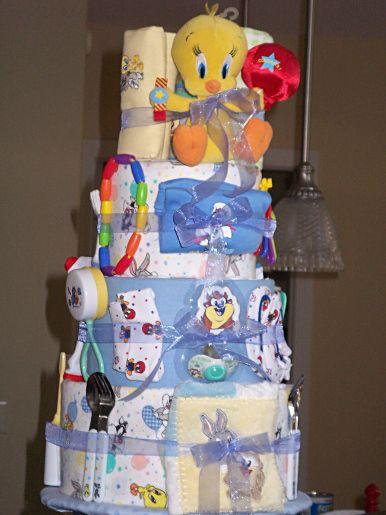 Wonderful Looney Tunes Baby Diaper Cake