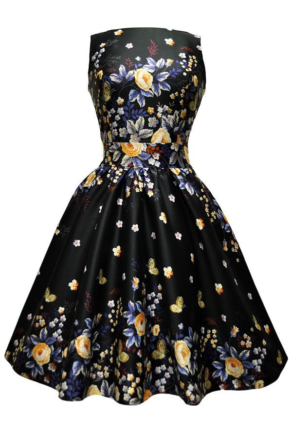Mega lækre Sort kjole med smukke Blå og gule roser og sommerfugle 50 Modetøj til Damer i behagelige materialer