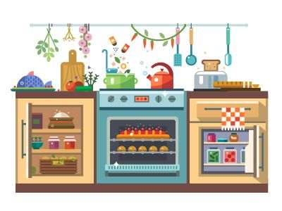Cozy kitchen: chef with dishes, food in cooking process, interior of kitchen, table with vegetables. Vector flat illustration and icon set   Behance