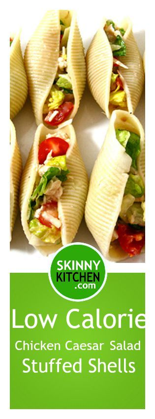 Super Easy, Low Calorie Chicken Caesar Salad Stuffed Shells. Each shell has just 58 calories, 1g fat and 1 Weight Watchers SmartPoints. #caesarsalad http://www.skinnykitchen.com/recipes/low-calorie-chicken-caesar-salad-stuffed-shells/
