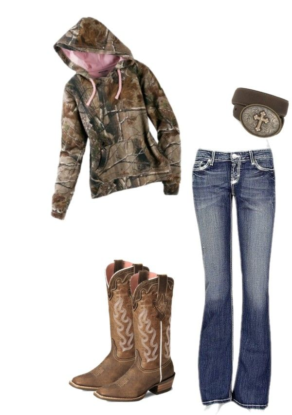 This is pretty much my every day outfit haha.. Total casual camo hoodie, jeans, belt w/belt-buckle and boots:)