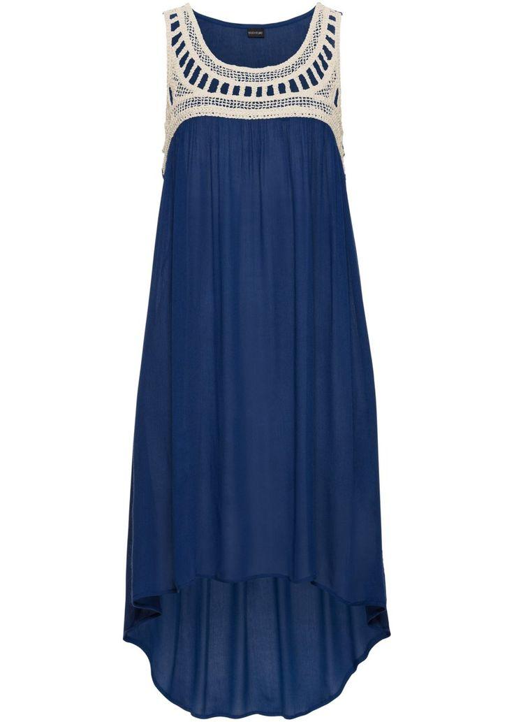 Bekijk nu:Deze mouwloze jurk is dankzij de gehaakte kant bij het decolleté een fashionable musthave voor de zomer. Het rokdeel in lichte high-low-look is gemaakt van soepelvallende stof. Lengte in mt. 38 ca. 90 cm.