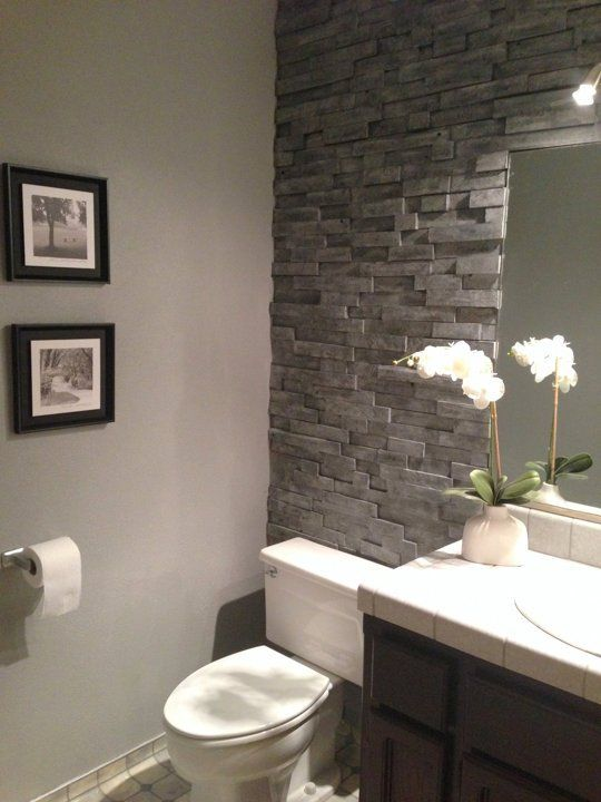 The You Ll Never Believe This Isn T Stacked Stone Bathroom Makeover For Home Pinterest And Decor