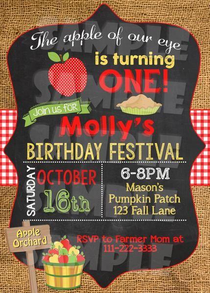 Apple First Birthday Invitation - Fall Birthday Invite Printable (Digital File Only)