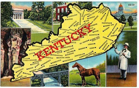 Vintage Kentucky Postcard Map Of Old Kentucky The Vintageplum Shop On Etsy Vintage Kentucky Postcard Oldkentucky Map Abrahamlincoln Birthpl See