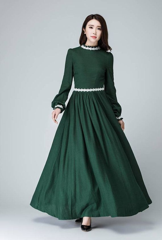 Maxi dress green linen dress women prom dress white by xiaolizi