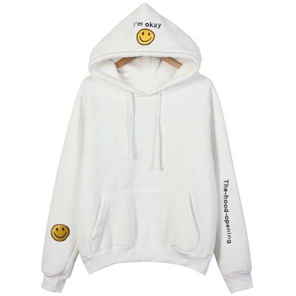 White ONE SIZE Thickening Embroidered Hoodie ($16) ❤ liked on Polyvore featuring tops, hoodies, embroidery top, white hoodies, embroidered hoodies, hooded pullover and sweatshirt hoodies