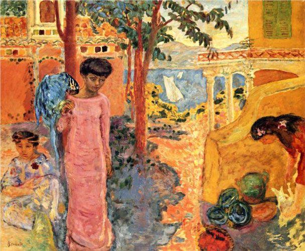 Пьер Боннар. «Девушка с попугаем». 1910 г.