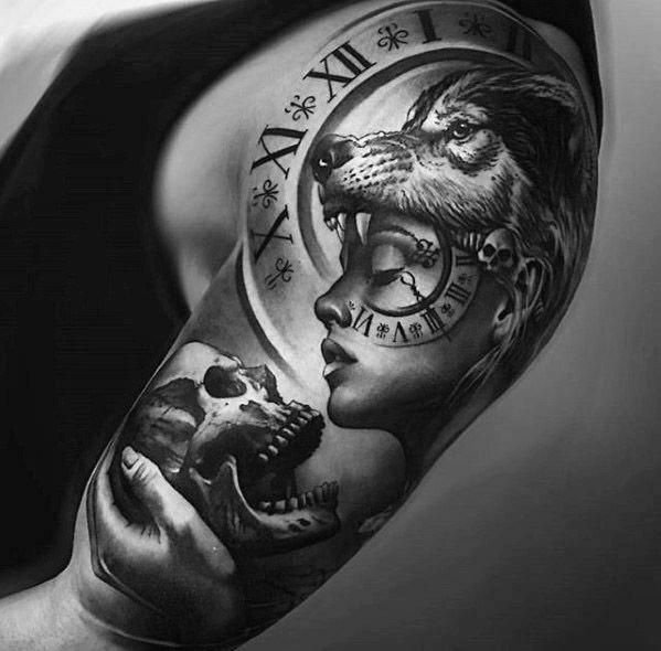 Half Sleeve Hyper Realistic 3d Male Sick Wolf Tattoo Designs With Roman Numeral Clock And Skull Sleeve Wolf Girl Tattoos Arm Tattoos For Guys Tattoos For Guys