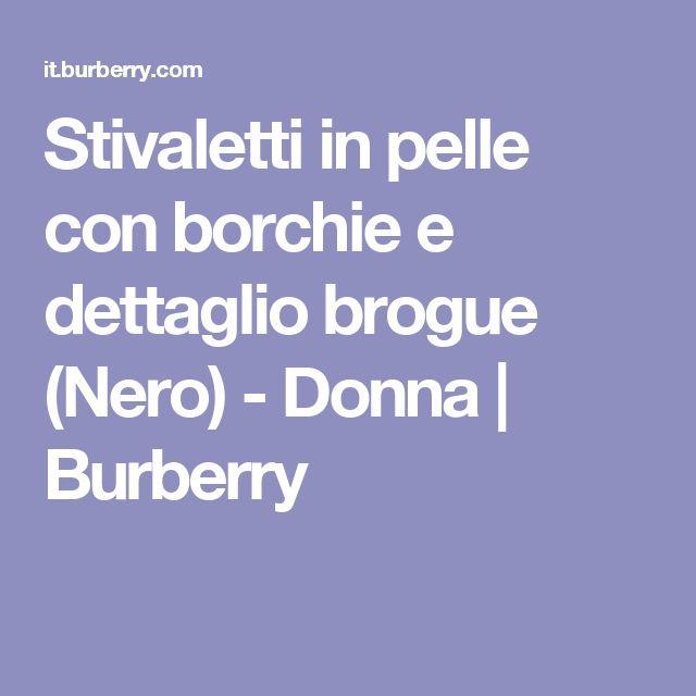 Stivaletti in pelle con borchie e dettaglio brogue (Nero) - Donna | Burberry