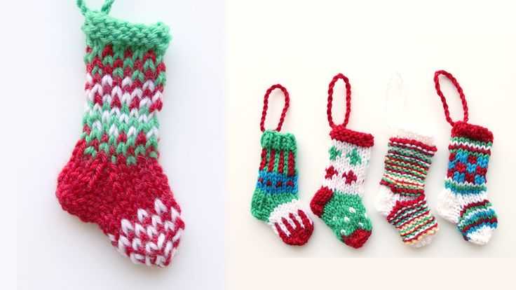 Step by step tutorial for knitting a mini Christmas stocking in the round using double pointed needles.
