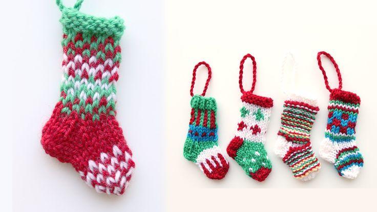 Mini Christmas stocking 1 - knitting tutorial