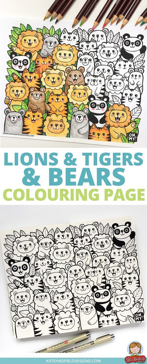 Lions and Tigers and Bears free colouring page   kids   Pinterest ...