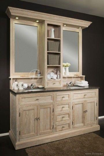 ll-bath-032w-Bath dubbele eiken Badkamerkast arduinen blad met witte keramische onderbouw waskommen met bovenbouw spiegels en 2 manden in White Wash eik Led Verlichting Landelijke badkamer-Landelijk badkamermeubel BATH032W