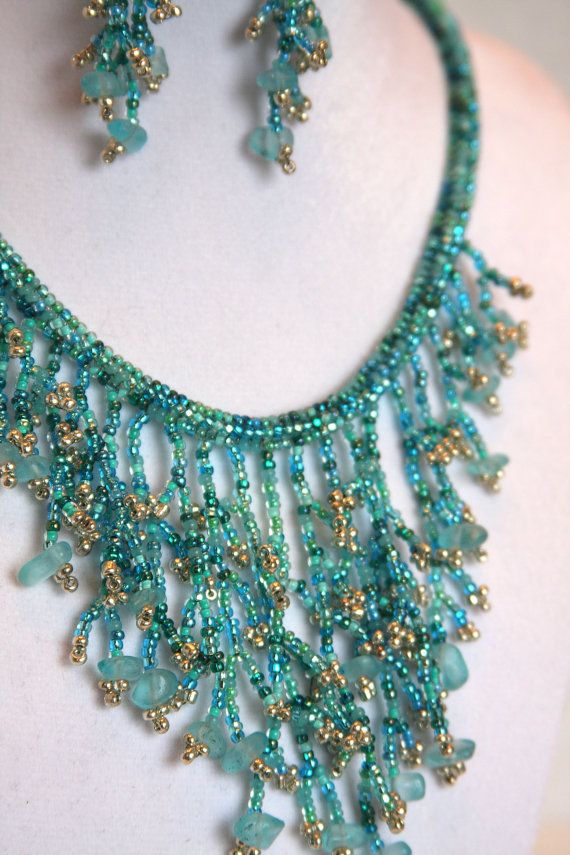 Marine aqua coraling necklace and earring set by Beadgardener, $59.00