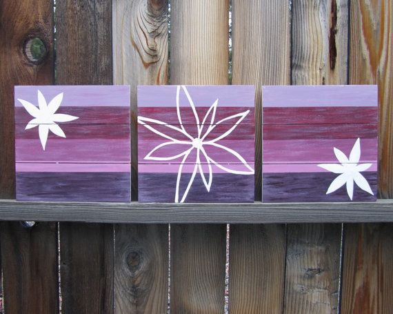 Purple Wall Art / Nursery Decor, Plum / Lavender, Girl Room Decor, White Flowers / wall decor / baby girl nursery art (hand painted on wood) via Etsy