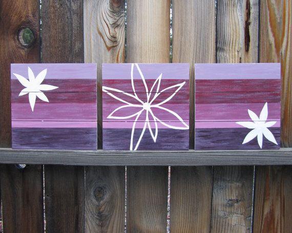 Purple Wall Art / Nursery Decor, Plum / Lavender, Girl Room Decor, White Flowers / wall decor / baby girl nursery art (hand painted on wood) via Etsy