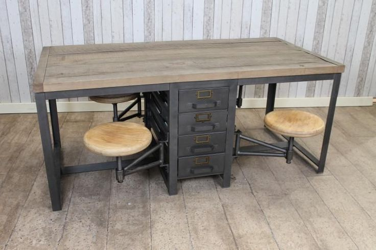 Industrial Style Work Desk Kitchen Table With Swing Out