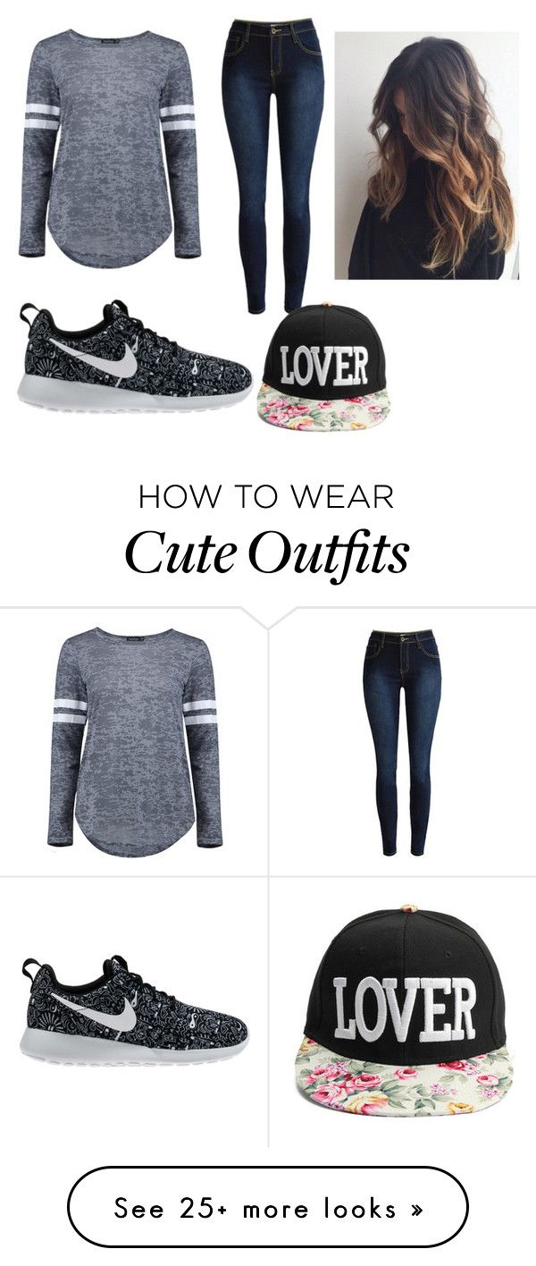 """""""Random Cute Outfit"""" by bella-morvia on Polyvore featuring Boohoo and NIKE"""