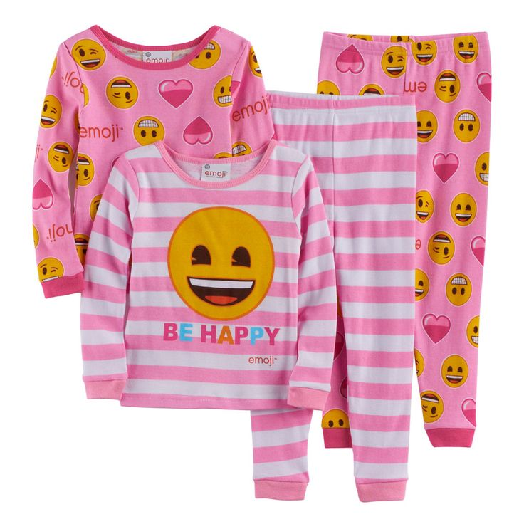 "Toddler Girl Emoji 4-pc. Smiley Face ""Be Happy"" Pajama Set, Size: 3T, Multicolor"