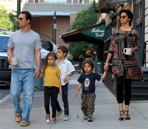 Matthew McConaughey and his wife Camila Alves take a breakfast walk with their kids Levi, Vida and Livingston in New York City on June 29, 2016
