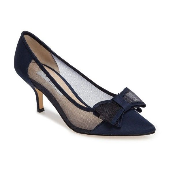 Women's Nina Bianca Pointy Toe Pump (1,695 MXN) ❤ liked on Polyvore featuring shoes, pumps, new navy satin, kitten heel pumps, pointy-toe pumps, bow pumps, navy blue shoes and mesh pumps