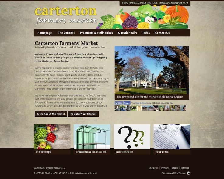 The Carterton Farmers' Market concept was formed as part of the Place Making Carterton scheme, with David Engwicht. The idea is simple - provide an arena for people to sell their produce locally ... to local people.  www.cartertonmarket.co.nz