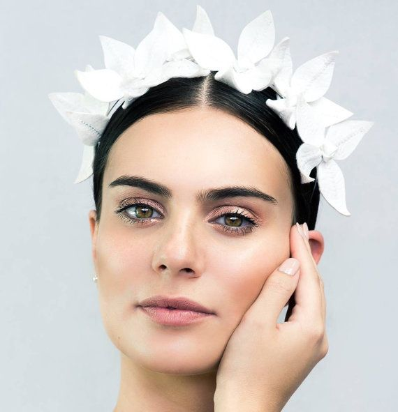 Embossed White Faux Leather Floral Crown