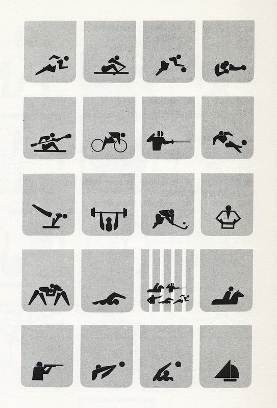 Sign System for the Tokyo Olympics 1964: Symbols identifying various sports #picotgram #sports #olymics