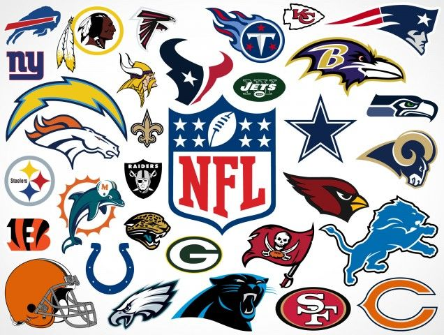 These are the combined logos of the 32 teams that play 16 regular season games and 11 post season games including the pinnacle game of professional football; The Super Bowl.