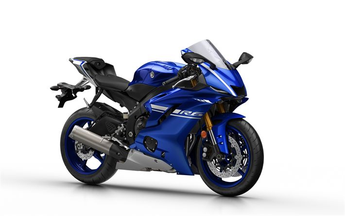 Download wallpapers Yamaha YZF-R6 Supersport, 2017, New motorcycles, blue YZF-R6, sports bike, Japan, Yamaha