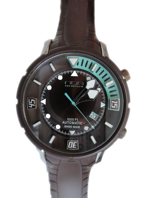 N.O.A. NOA None of the Above Scyllis 480 300M diver automatic water resistant to 300 meters wristwatch.   http://www.liveauctioneers.com/item/25627366_stainless-steel-and-rubber-noa-scyllis-480-diver