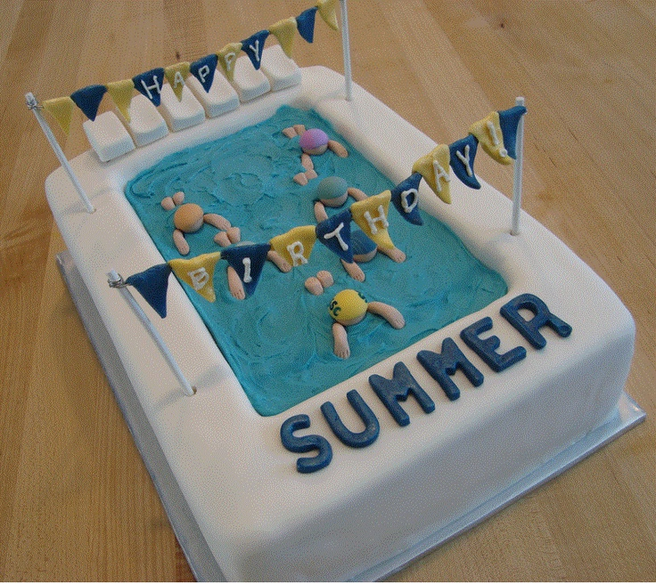 Great Swimming Pool Birthday Cake Yellow Cake Carved For Pool With Fondant  Decorations And Blue Buttercream.