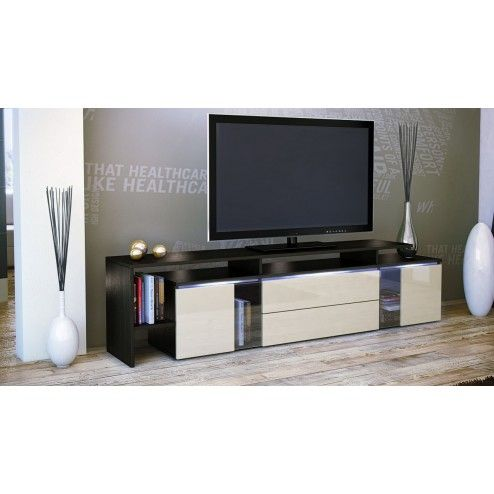 meuble tv noir cr me luchino visconti. Black Bedroom Furniture Sets. Home Design Ideas