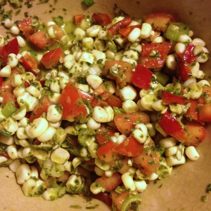 Corn Salsa #GlutenFree #DairyFree Here's what to make with those huge bunches of basil and great local corn available at farmers markets now. Also good for those who don't like cilantro in their salsa.