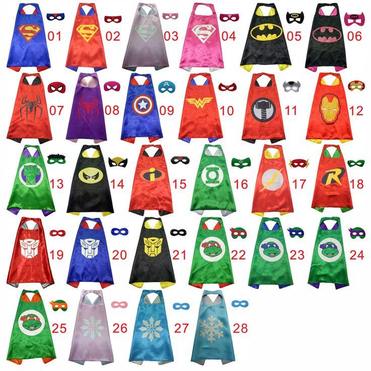 50子供のスーパーヒーローケープの二辺サテン生地スーパーhero岬+マスクパーティー用品子供の誕生日パーティーコスプレ
