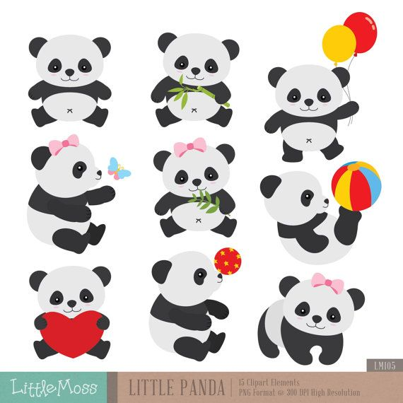 Little Panda Clipart by LittleMoss on Etsy
