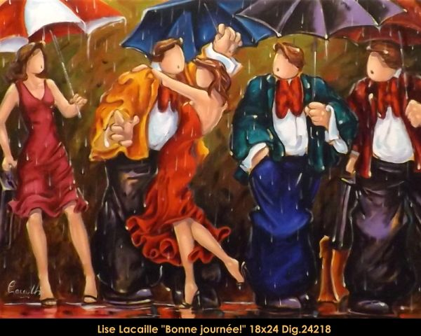 Lise Lacaille original oil painting on canvas #liselacaille #art #artist #canadianartist #quebecartist #fineart #figurativeart #originalpainting #oilpainting #CanadianArt #couple #rain #multiartltee #balcondart