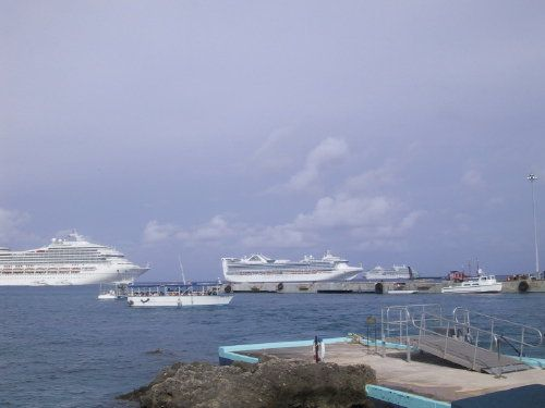 Cruise Ships at Anchor Off Grand Cayman Island