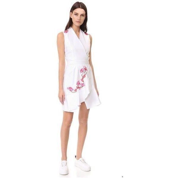 Carven Sleeveless Dress (£640) ❤ liked on Polyvore featuring dresses, blanc optique, v neck dress, white dress, draped dress, white v neck dress and short dresses