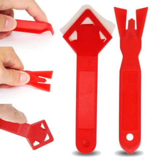 2x Caulking Tool Kit Corner Joint Sealant Silicone Grout Remover Scraper Red Gut