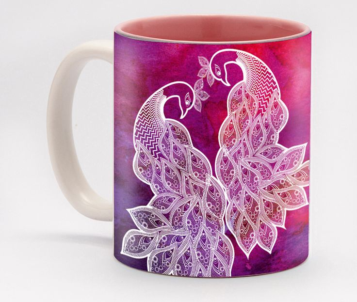 Peacock Watercolour Mug - Make your mornings merry with this delightful and charming mug featuring the season's most popular art. This mug will certainly be the center of attention the next time you serve your loved ones a warm cup of coffee.
