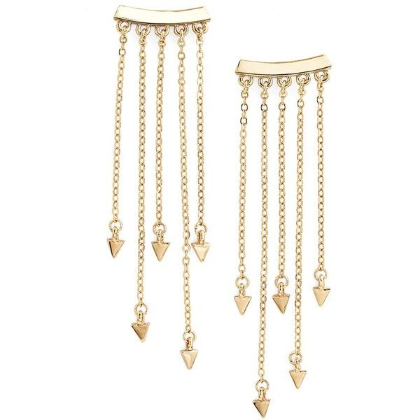 Rebecca Minkoff Bar Fringe Ear Crawlers ($68) ❤ liked on Polyvore featuring jewelry, earrings, gold, chain fringe earrings, rebecca minkoff, chain earrings, fringe earrings and fringe jewelry